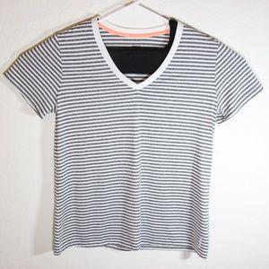 Reebok Striped Gray White V-Neck Activewear Tshirt